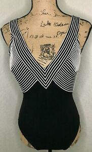 Doladio Rose Marie Reid Size 6 One Piece Swimsuit Black White Vintage