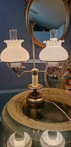 Vintage Double Arm Student Desk Lamp with White Hobnail Hurricane Shades.