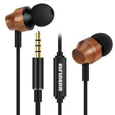 Noise-isolating Wood Earphones,HiFi In-ear earbuds with Microphone & Volume Cont
