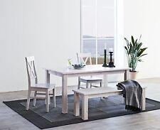 STEENS Tischgruppe MONACO mit 4 Stühlen und Bank in Kiefer massiv White-Wash