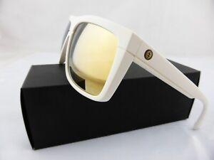 Electric BLACK TOP Sunglasses Matte White - OHM Grey Gold Chrome Lens