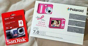 NEW Polaroid I733 7.0 Megapixel Pink Digital Camera 3X & 4X Zoom NEW 4GB SDHC