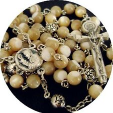 Italy Crucifix Cross Nice Mother-of-Pearl Rosary silver rose beads Necklace