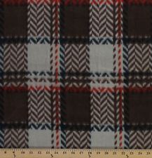Chevron Plaid Brown Fleece Fabric Print by the Yard A511.11