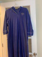 Christian Dior purple fleece vtg zip nightgown logo embroidered womens small