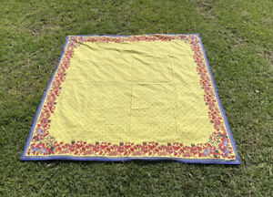 """Williams Sonoma Yellow French Provence Butterfly Floral Tablecloth 70"""" X 90"""""""