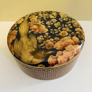 Pottery Barn Sabyasachi Porcelain Round Lidded Jewelry Box Bird & Flower