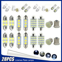 28PCS LED Car Inside Light Dome Map Trunk License Plate Lamp Interior Bulb Kit
