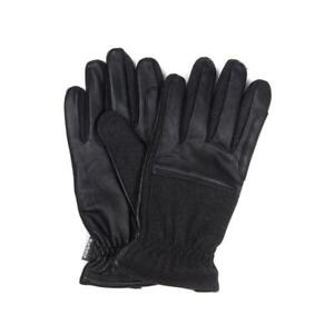 Barbour Mens Rugged Melton Wool Leather Mix Gloves Charcoal / Black Warm Winter