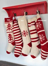 Festive Christmas Woollen Knitted Stocking Red & White Choose From 3 Designs