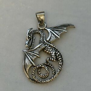 """Sterling PSCL Peter Stone Dragon Pendant 1.75"""" 7.3G"""