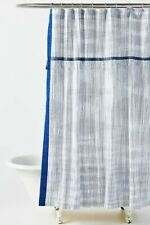 NWT Anthropologie Savon Blue Classic Gingham Shower Curtain