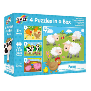 Galt 4 Puzzles in a Box Farm 4-12 Piece Jigsaw Puzzle NEW