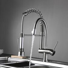 FLG Pre-Rinse Single Handle Pull Down Kitchen Faucet with Sprayer Brushed Nickel