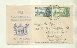 1946 FIJI FIRST DAY COVER VICTORY ISSUE PM SUVA FIJI