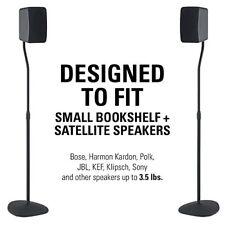 Black Adjustable Height Bookshelf Floor Speaker Stand Mounts Home Theater Stands