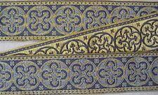 "Antique Pugin Reproduction Jacquard Trim Gold & Blue 1 5/8"" Wide Vestment Sewing"