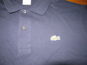 BNWT Mens Lacoste Shirt T Polo SS pique navy blue Caiman 5 M Medium AUTHENTIC