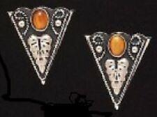 "New Western Austin Accent Collar Tips Tiger Eye Black & Silver - 1 1/4"" X 1 1/2"""