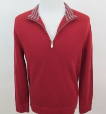 Faconnable Men Cotton Solid Red Gray Striped Collar 1/4 Zip Sweater Small France