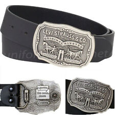 Levis Leather Belt Mens 40mm Belt with Removable Antiqued Logo Plaque Buckle