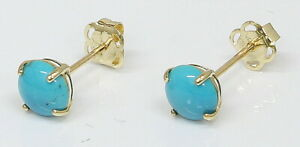 9 Carat Yellow Gold December Birthstone Stud Earrings Turquoise (06.15.065)