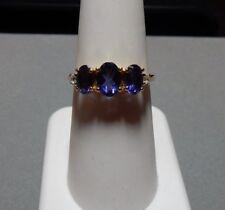 1.52ct Size 7 Genuine Iolite & White Zircon 10K Yellow Gold Ring