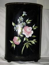 Vintage DETECTO HAMPER BLACK Metal Vents Feet Lid Pink Roses CLASSIC FAVORITE