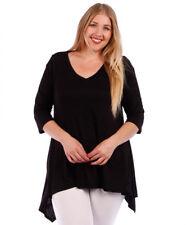 Womens BLACK Plus Size 2X Tunic Top Asymmetrical WearOrGoBare