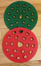 "Two 10"" Heavy Plastic Pie Pastry Topper Cutters-Christmas Trees & Hearts Design"