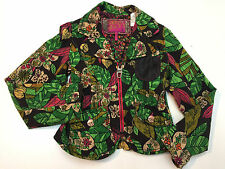 Miss Sixty Girl's Multi-Print Cotton Jacket Zip-Up Leather Pocket Lined Size 8