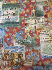 Orange Green Vintage The Circus 396 100% Cotton Quilting Craft Fabric Benartex