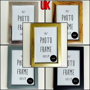 """Photo Frames Picture Frame 4x6"""" inches 10x15cm Black White Gold Wood Oak Silver"""