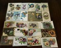 Nice~LOT of 25 ~Pansies~PANSY~Flowers Floral~Greetings Postcards-In Sleeves-b916