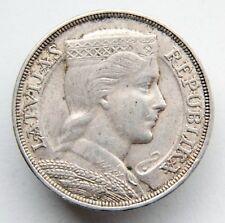 Latvia Lettland Lettonie 5 Lati 1932 Maiden's Head Silver Coin