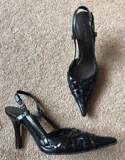 River Island Black Leather Sing Back Shoes Heels Uk Size 4 EU 37