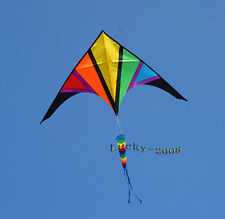 NEW 9ft single Line Delta Kite with tail Outdoor fun Sports Toys for kids new