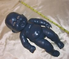 13� Berenguer Creepy Navy Blue Baby Doll W/Open Mouth & Half Closed Glass Eyes