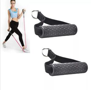 Fitness stirrup handles anti-slip for gym resistance tubes with steel ring soft