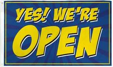 Yes! We'Re Open Advertising Flag Banner Sign 3x5 ft Business Store Blue