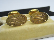 Antique Victorian Edwardian era 10K Yellow Gold Chased Engraved Cufflinks Button