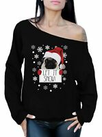 Let it Snow Sweatshirt Christmas Off the Shoulder Top Ugly Christmas Sweater