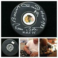 Bobby Hull Pierre Pilote Chicago Blackhawks Signed Dual Autograph Hockey Puck
