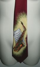 "Saxophone Musical Notes Sheet Instrument E. Graziano Men's Necktie Tie 57"" Long"