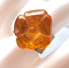 Carved resin amber and sterling silver ring, wide adjustable band  size 7 - 8
