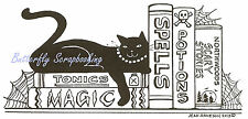 Halloween Cat Spells Books Wood Mounted Rubber Stamp Northwoods O9141