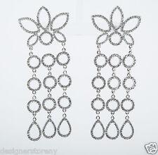 Kenneth Jay Lane rhodium /rhinestone cluster 3 row drops pierced earrings