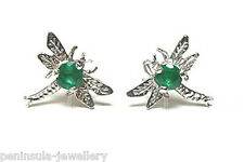 9ct White Gold Emerald Dragonfly Stud Earrings Gift Boxed Studs Made in UK