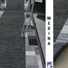 moderner Velours Teppich Läufer *MEDINA 97 grau*  100 cm breit NEU rutschfest