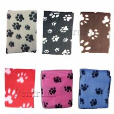 SOFT COSY WARM FLEECE PAW PRINT PET BLANKET DOG PUPPY ANIMAL CAT BED
